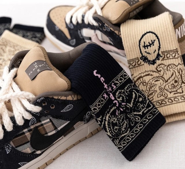 Chaussettes Inspiration Travis Scott Beige smiley - Sneakers Dealers-Paris