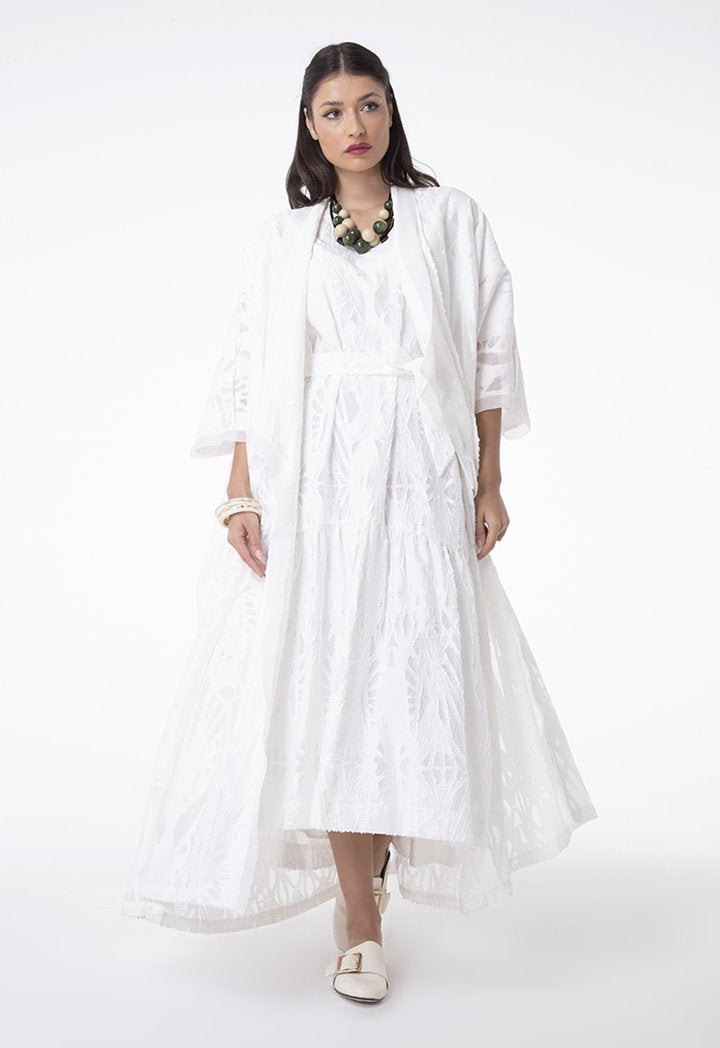 Choice Embroidered Organza Wide Kimono Off White