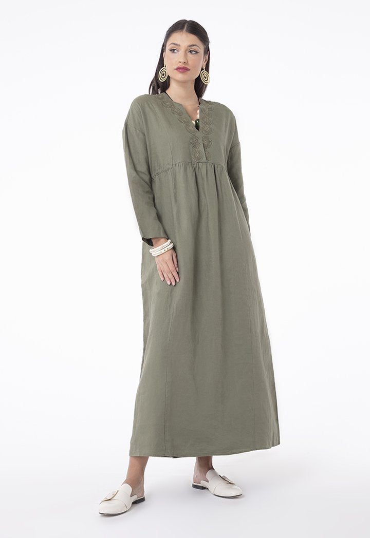 Choice Linen Lace Shirred Waist Dress Khaki