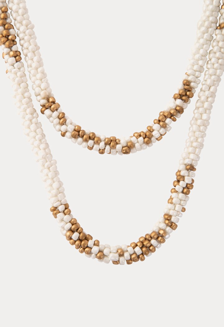 Choice Patterned Seed Bead Necklace White - Wardrobe Fashion