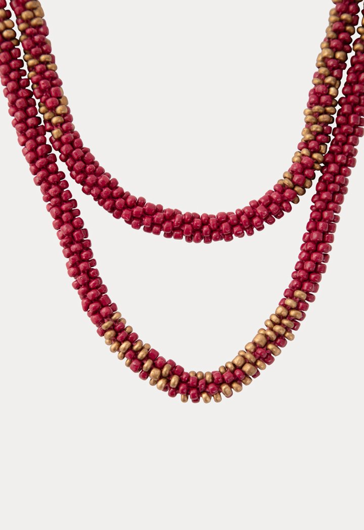 Choice Patterned Seed Bead Necklace Fuchsia - Wardrobe Fashion