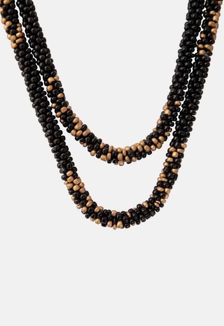 Choice Patterned Seed Bead Necklace Black - Wardrobe Fashion