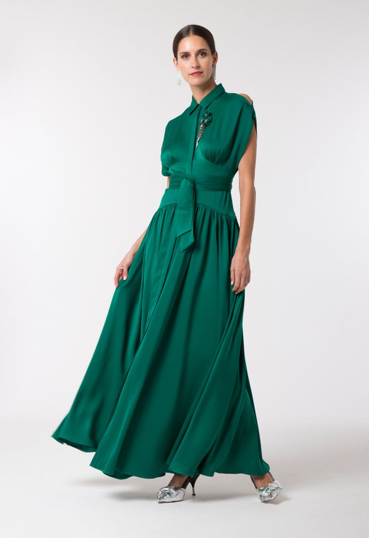 Choice Elegant Maxi Shirt Dress Pine Green