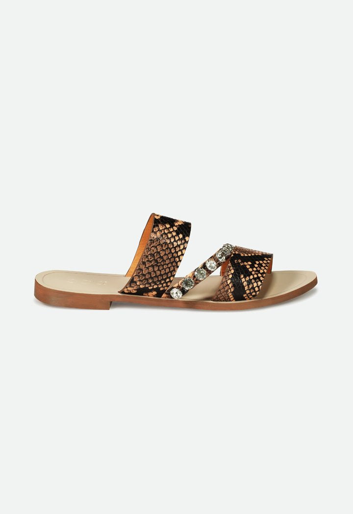 Choice Stud Embellish Multi Strap Sandals Black/Brown - Wardrobe Fashion