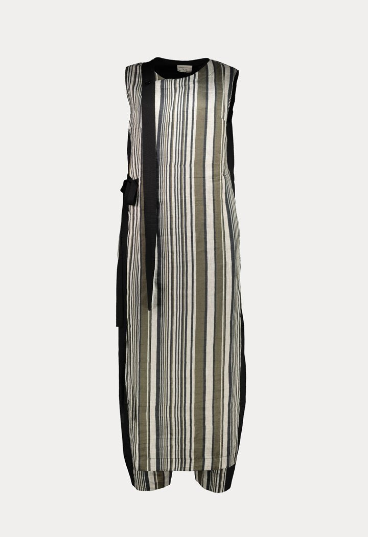 Choice Striped Wrap Overlay Jumpsuit Multicolor - Wardrobe Fashion