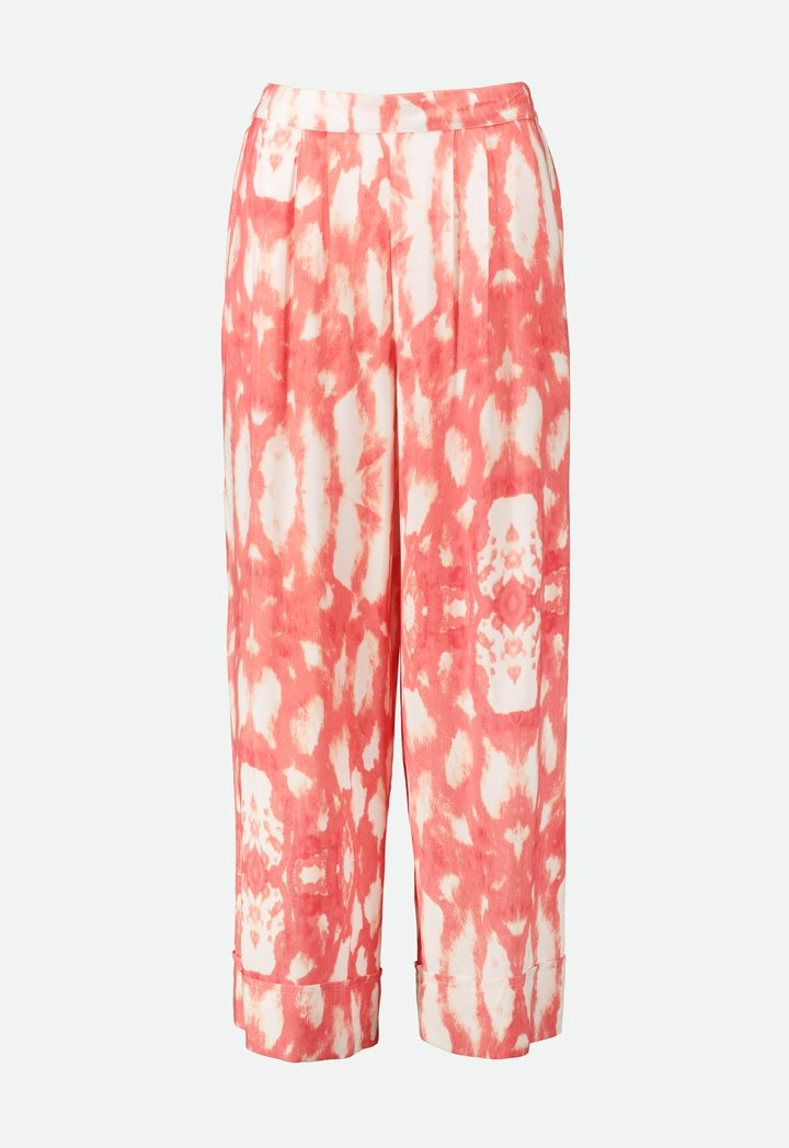 Choice Tie Dye Straight Leg Trouser  Coral-Print - Wardrobe Fashion
