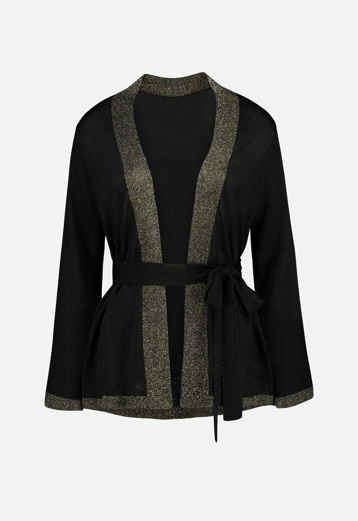 Choice Contrast Edge Belted Outerwear Black - Wardrobe Fashion