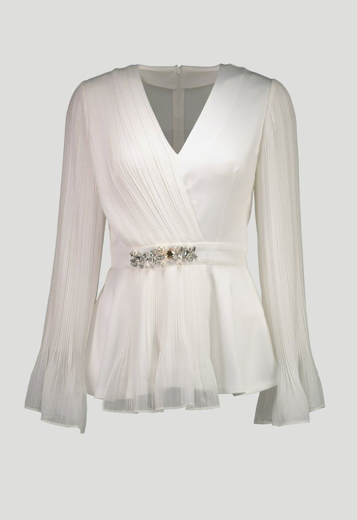 Choice Pleated Chiffon Blouse Off White - Wardrobe Fashion