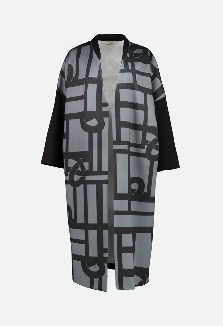 Choice Oversized Geometric Print Outerwear Black  Print
