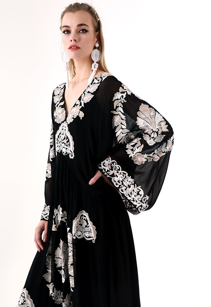 Choice Embroidered Kaftan Midi Dress Black - Wardrobe Fashion