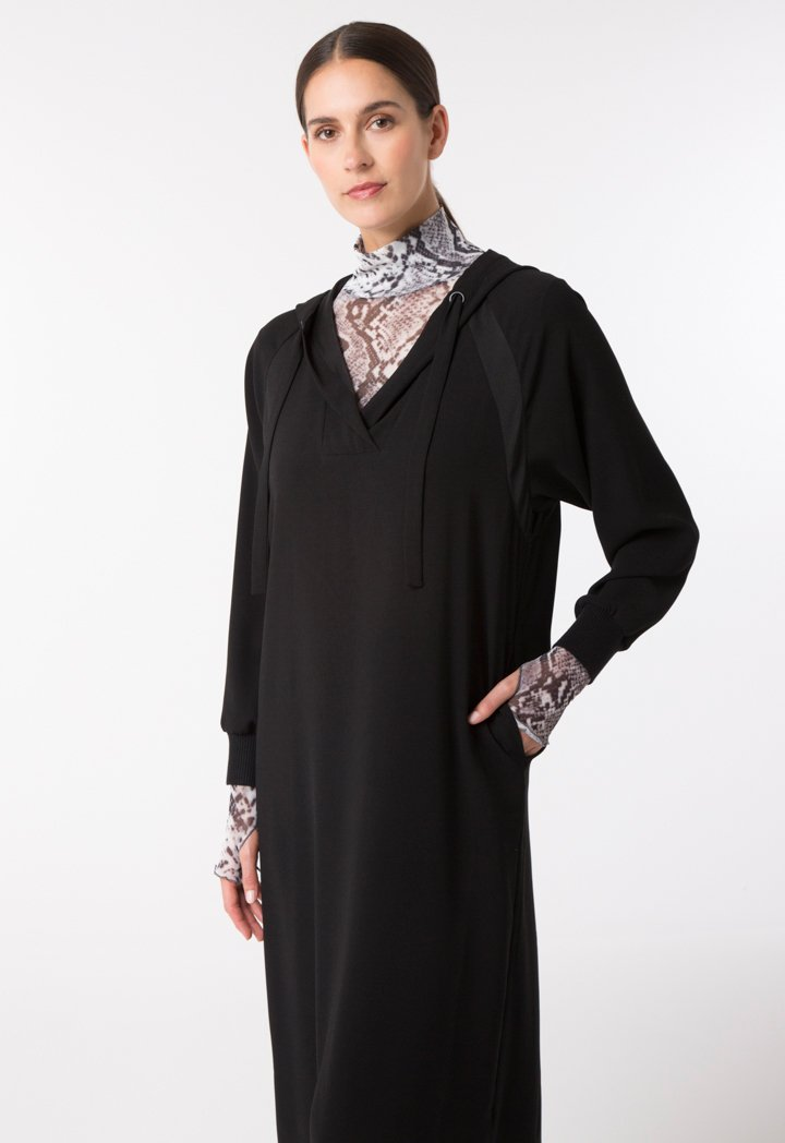 Choice Hooded Crepe Dress Black