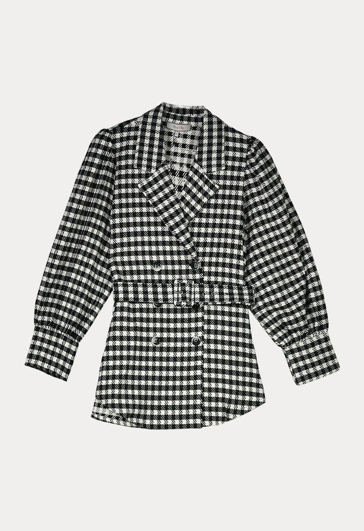 BERRIN Checked Notch Collar Double Breasted Belted Jacket BLACK