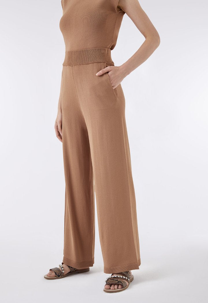 Choice High Waist Knit Palazzo Pants  Tobac - Wardrobe Fashion