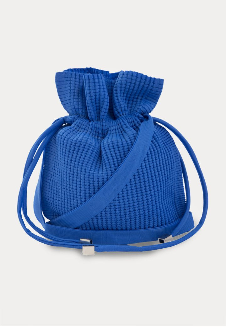 Choice Textured Drawstring Pouch Bag Cobalt - Wardrobe Fashion