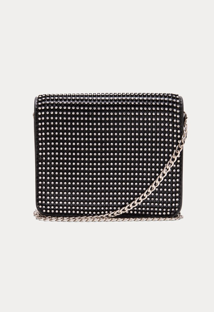 Choice Rhinestone Mesh Flap Sling Bag Black - Wardrobe Fashion