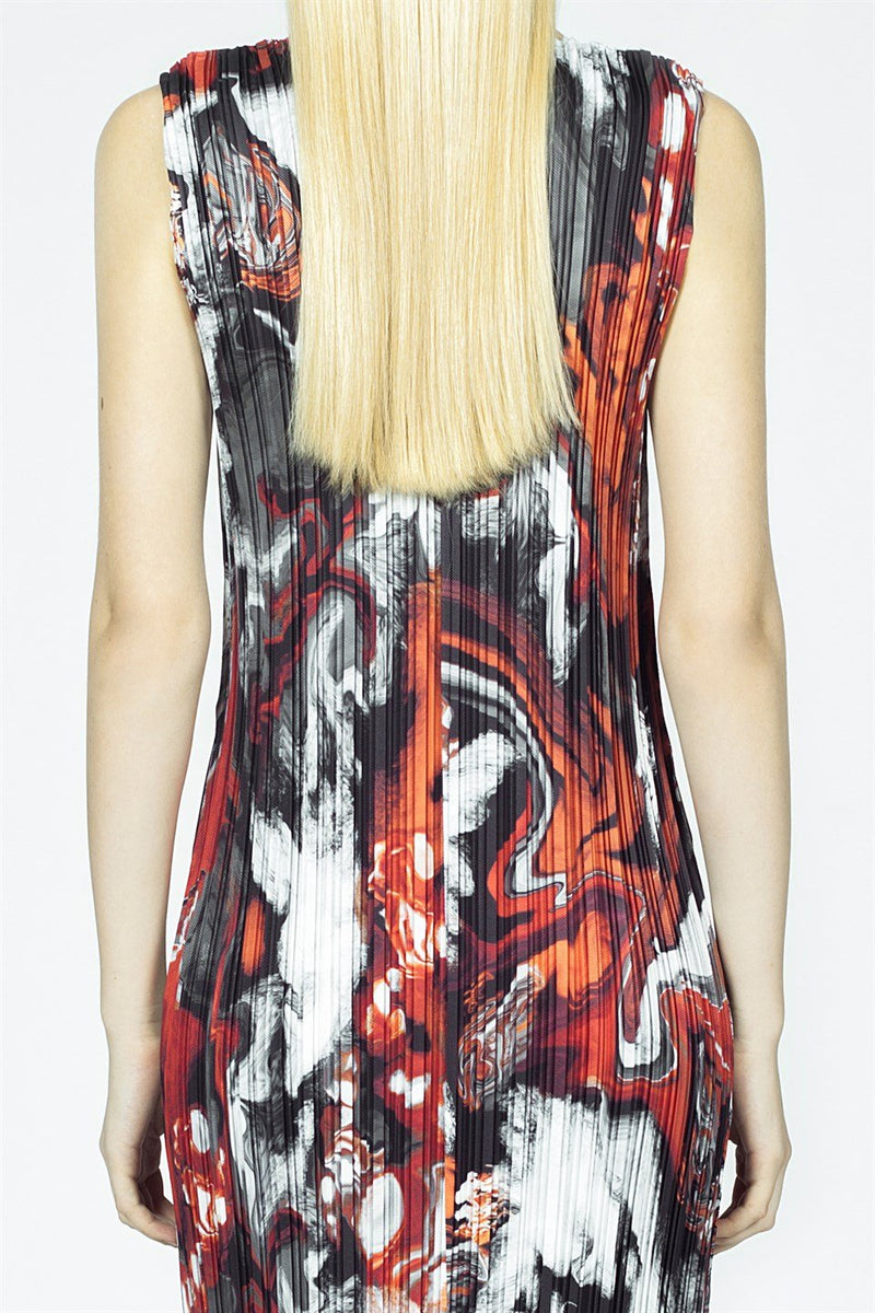 Nu Printed Sleeveless Pleated Midi Dress Multicolor