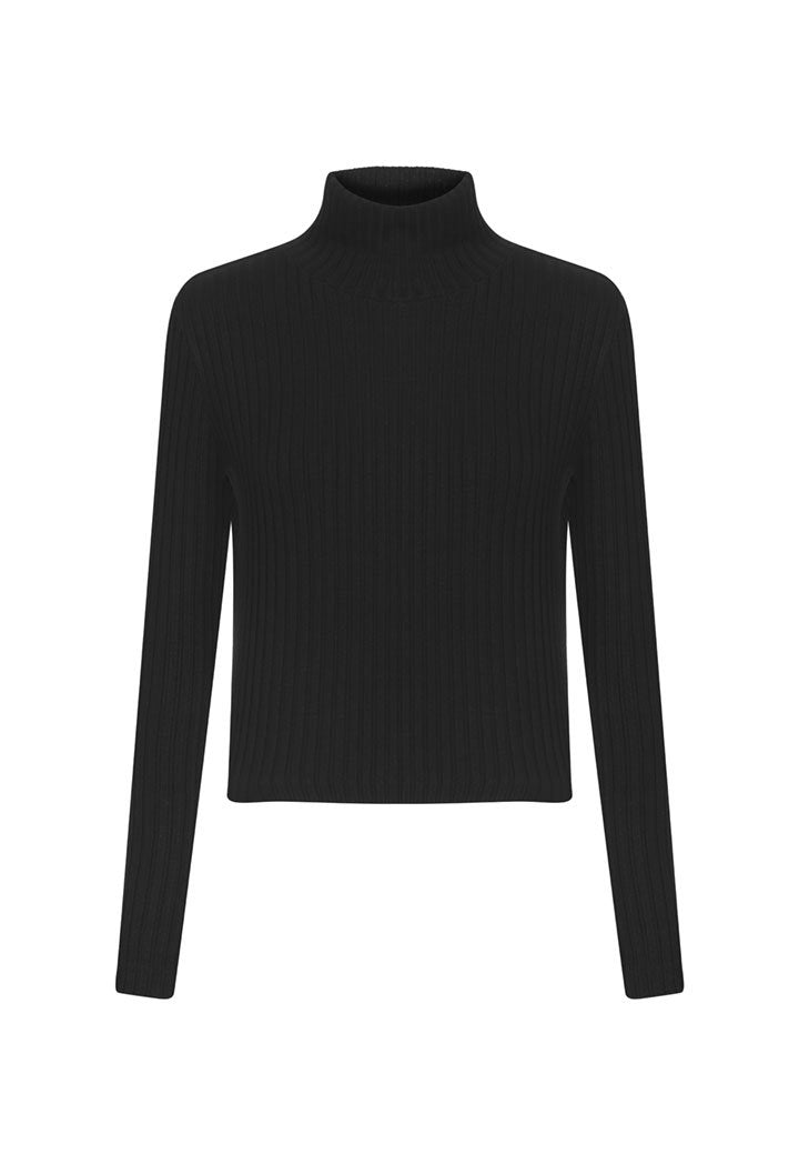 Nu Knit Long Sleeve High Neck Short Sweater  Black