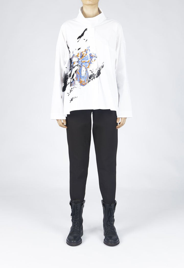 Nu Printed Long Sleeve Relaxed Fit Shirt White