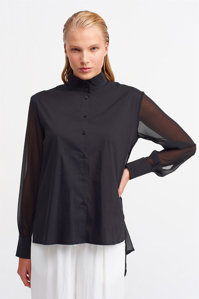 Nu Long Sleeve Back Pleated Asymmetrical Hem Blouse Black