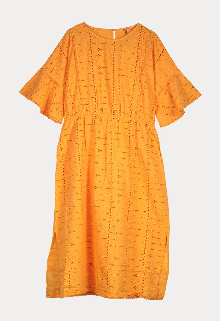 UNQ Die Cut Short Sleeve A-Line Midi Dress ORANGE