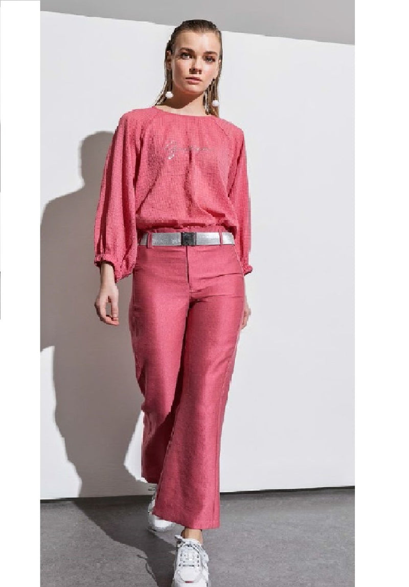 BERRIN Plain High Waist Flare Trouser PINK