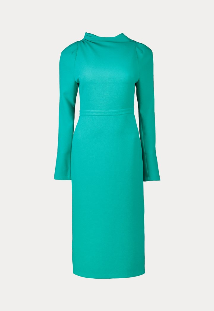 Kameya High Neckline Long Sleeve Sheath Midi Dress Turquoise