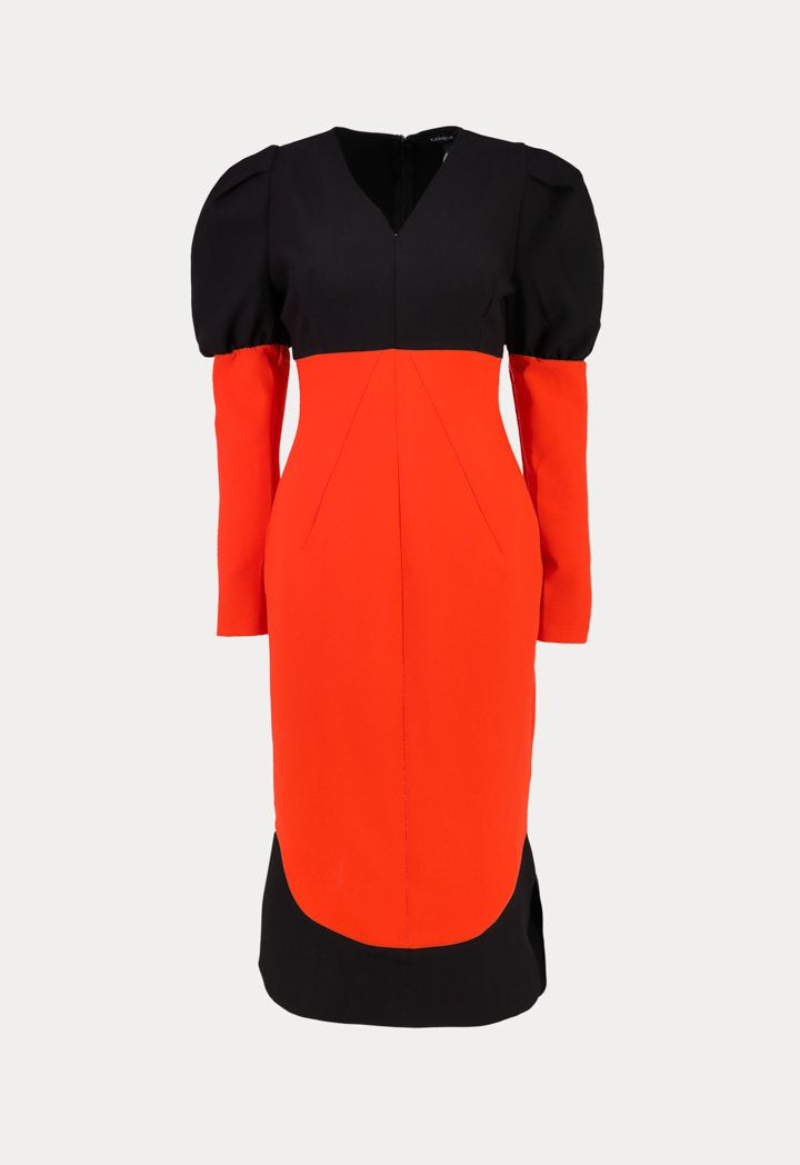 Kameya Long Sleeve Sheath Midi Dress Black Orange