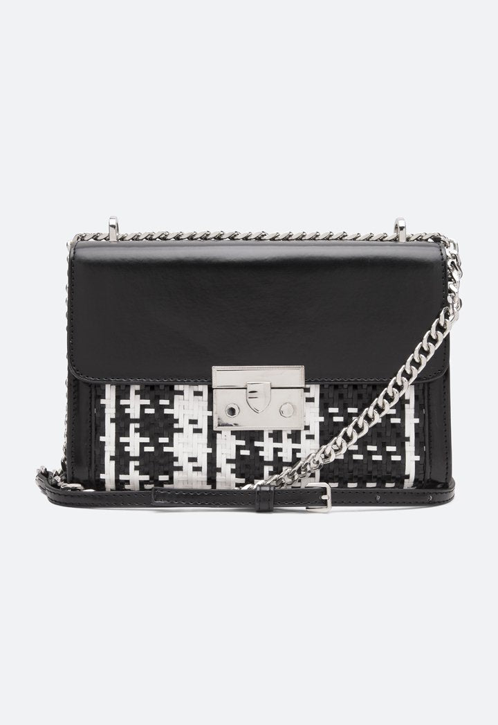 Choice Straw Faux Leather Flap Bag Black-White - Wardrobe Fashion