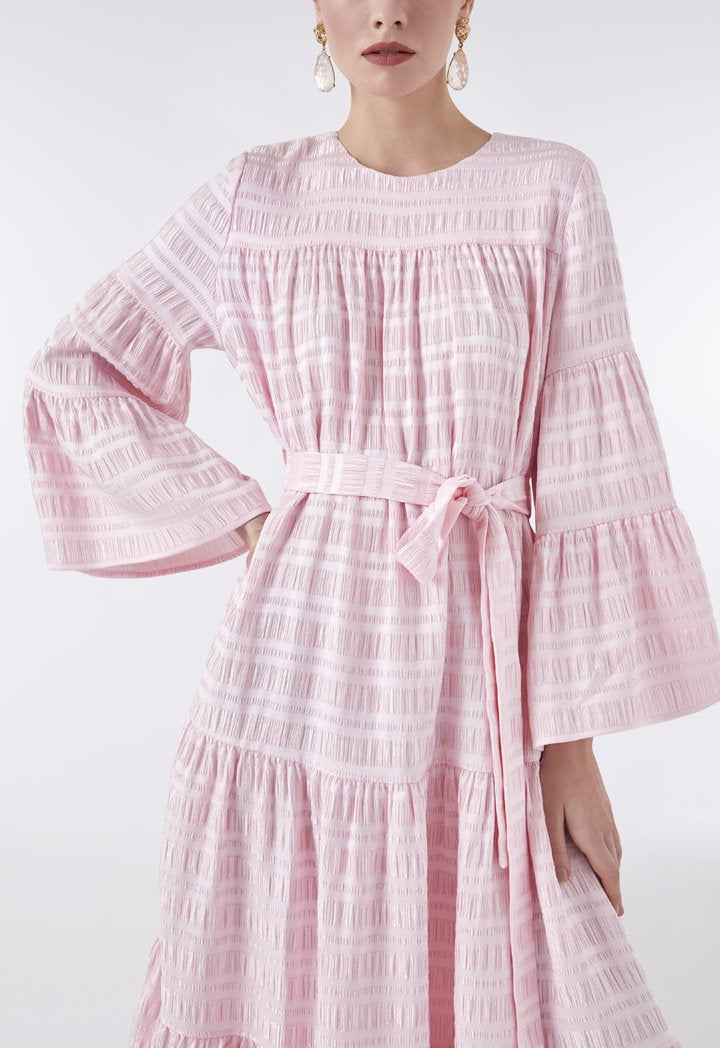 Choice Textured Fabric Layer A-Line Dress Pink - Wardrobe Fashion