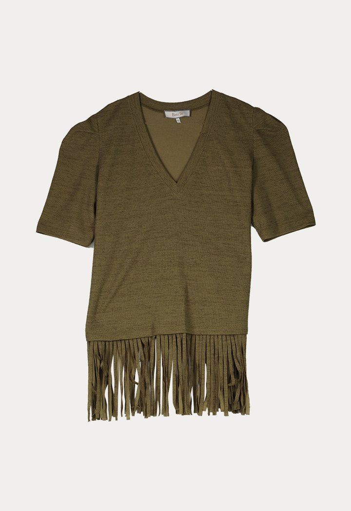 BERRIN Short Sleeve Fringe Hem Knit Sweater KHAKI