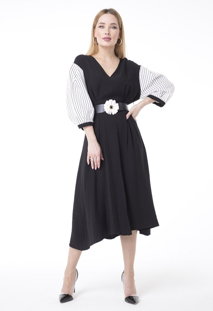 BERRIN Long Sleeve Pleated Belted Dress BLACK