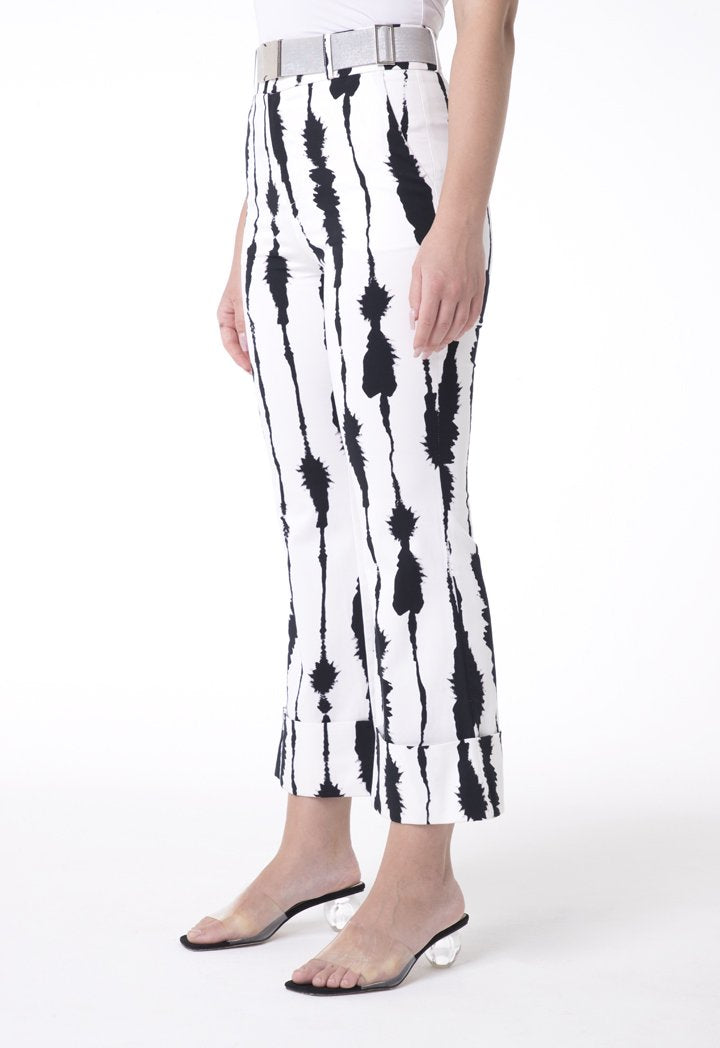 BERRIN Printed High Waist Flare Trouser BONE/BLACK