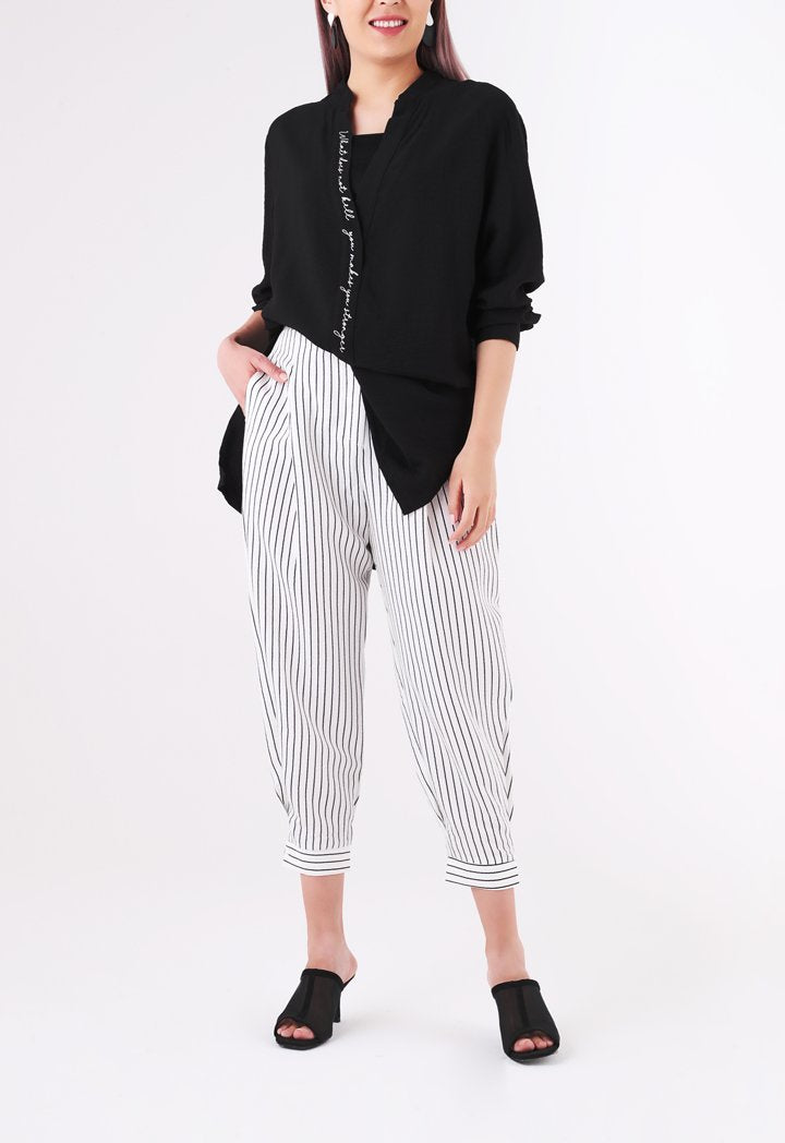 BERRIN Striped High Waist Trouser BONE