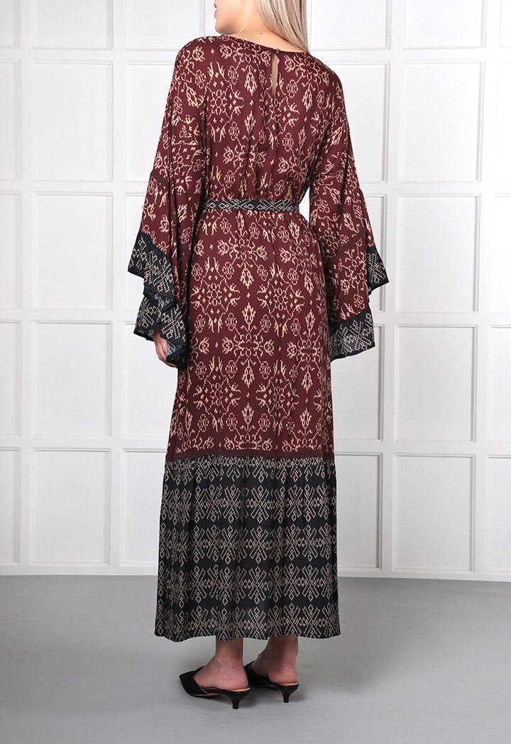 Choice Geometric Print Midi Dress Burgundy - Wardrobe Fashion