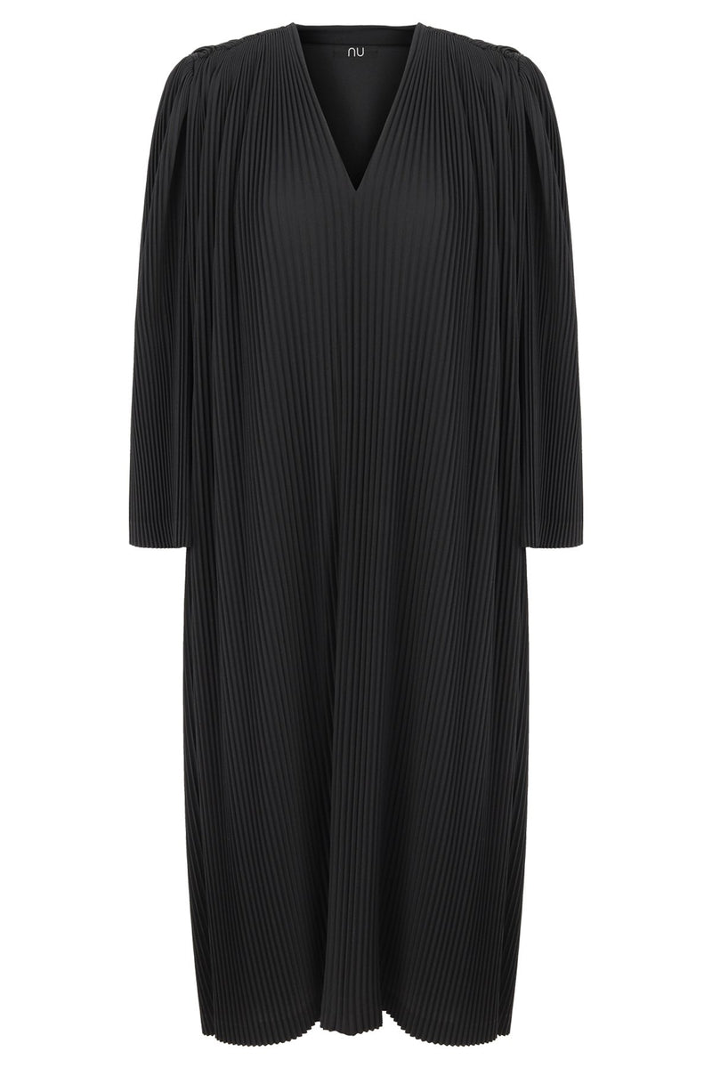 Nu Long Sleeve Pleated Midi Dress Black
