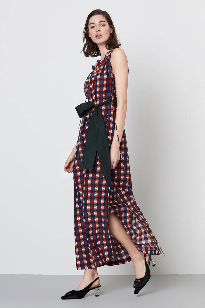 Machka Printed Sleeveless Belted Shift Maxi Dress Multi Color