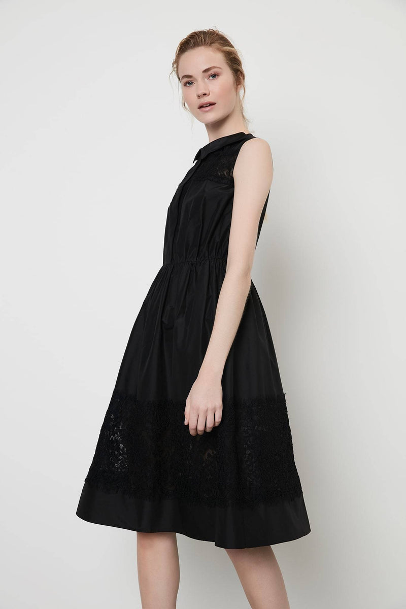 Machka Sleeveless Lace Detail A-Line Short Shirt Dress Black
