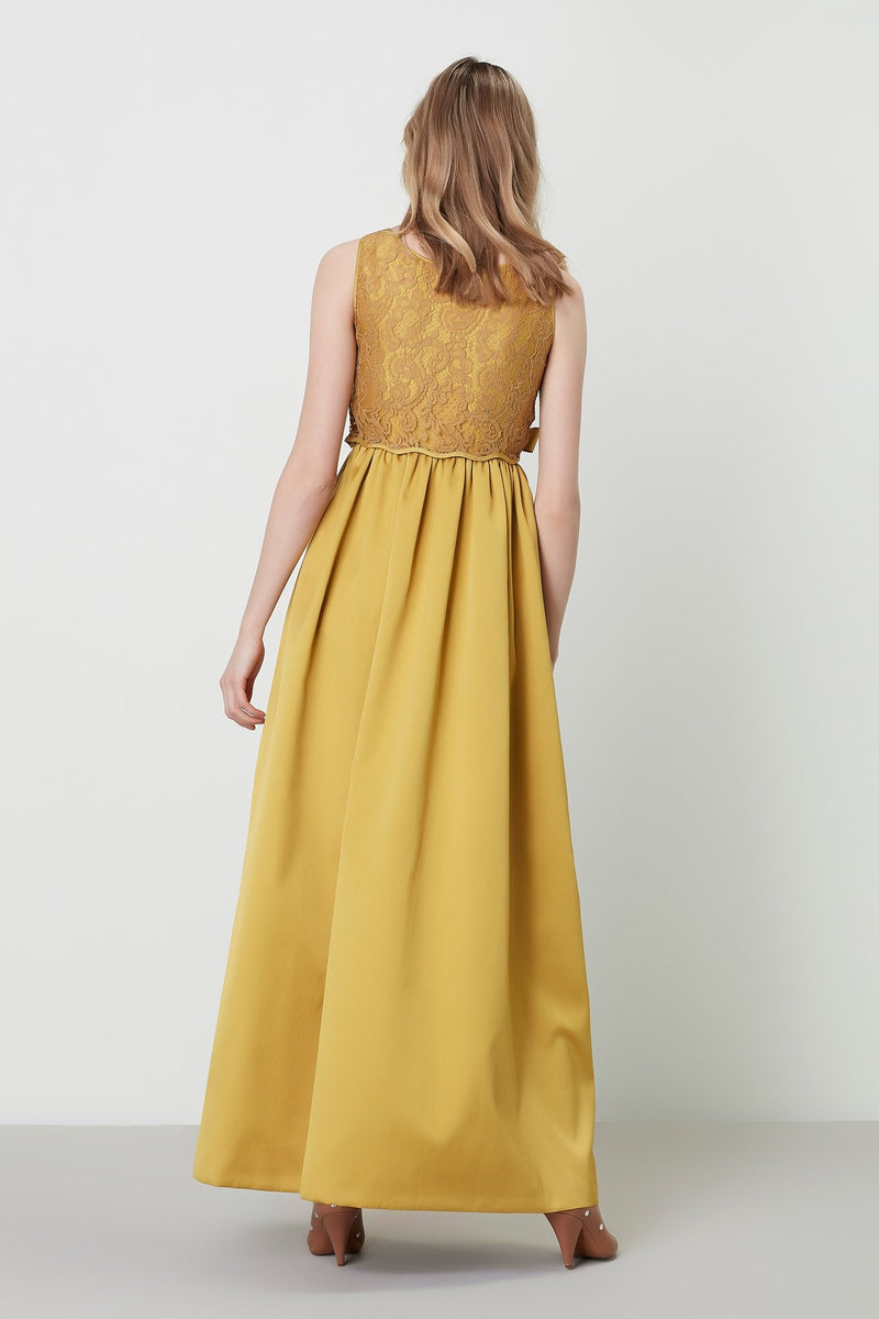 Machka Sleeveless Bow-Front Lace Detail A-Line Long Dress Mustard