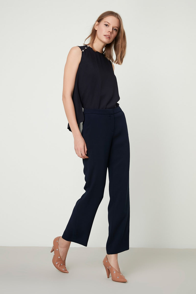 Machka High Waist Straight Cut Trouser Navy Blue