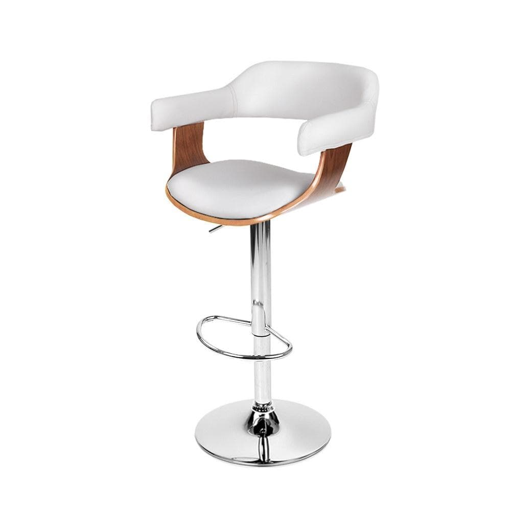 Donna Bar Stool Leather Wooden Swivel White