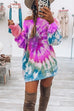 Irisdress Tie Dye Off Shoulder Casual Hoodie Dress