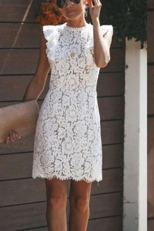 Irisdress Lace Round Neck Stitched Sleeveless Dress