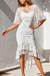 Irisdress Butterfly Sleeve Slim Cut Lace Wrap Dress