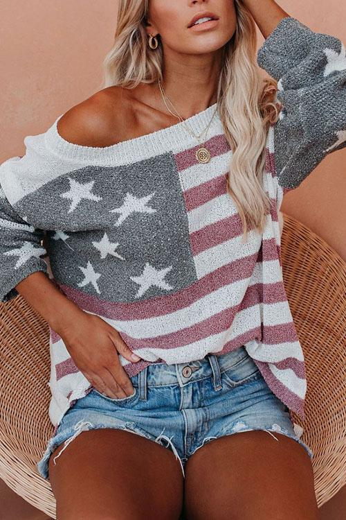 Irisdress American Flag Off Shoulder Pullover Sweater