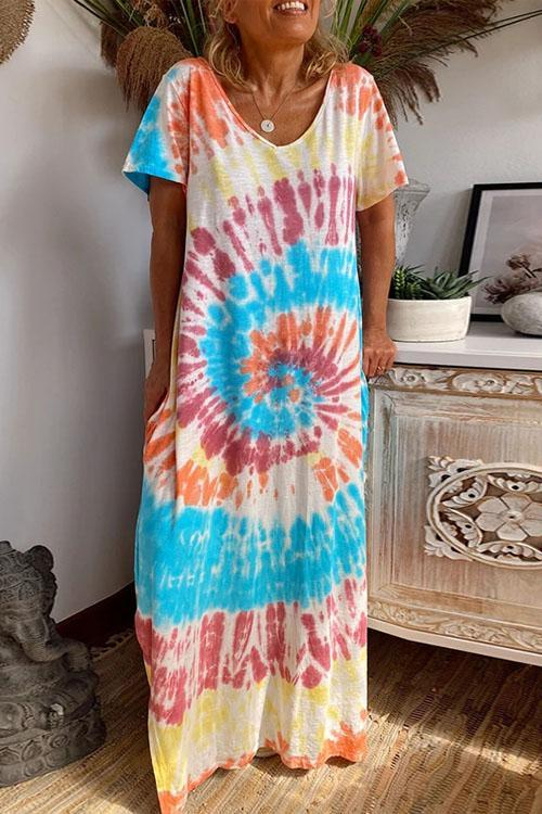 Irisdress Sunflower Tie Dye Loose Maxi Dress