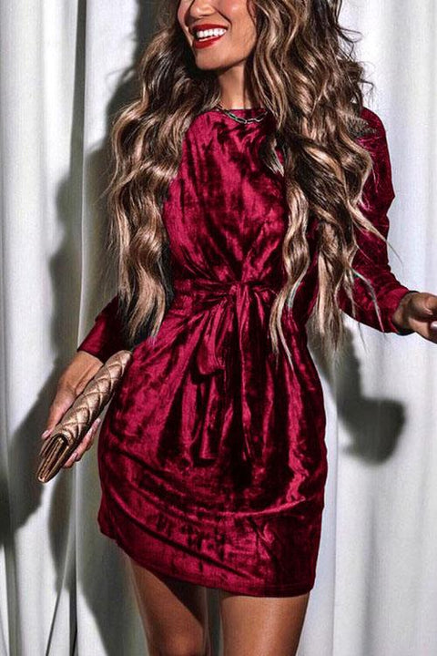 Irisdress Merry Christmas Velvet Knot Sweatshirt Mini Dress