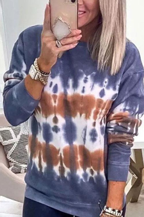 Irisdress Tie Dye Casual Loose Hoodie Top