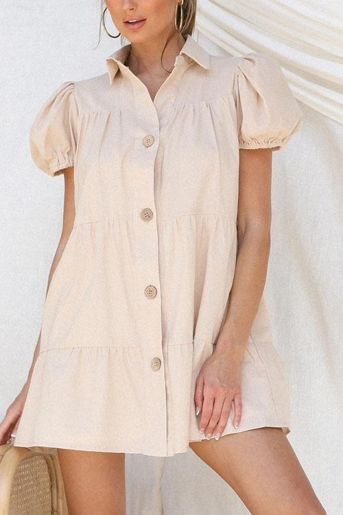 Irisdress Cute Sleeves Lapel Single Breasted Dress