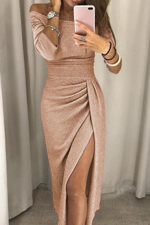 Irisdress Boat Neck Glittering Slit Wrap Dress