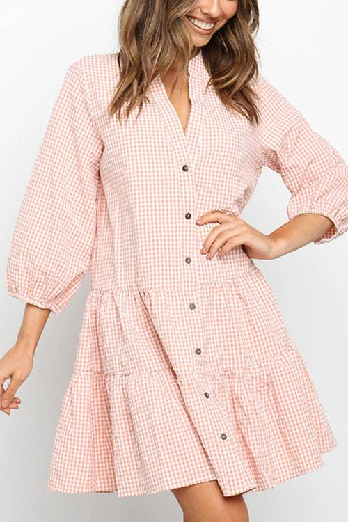 Irisdress Fashion Lapel Puff Sleeve Plaid Dress